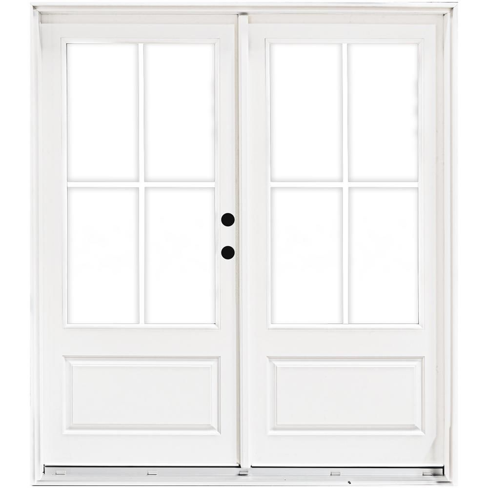 Mp Doors 72 In X 80 In Fiberglass Smooth White Left Hand Inswing Hinged 3 4 Lite Patio Door With 4 Lite Gbg Hn6068l3qw3 The Home Depot In 2020 French Doors Interior Patio Doors French Doors Exterior