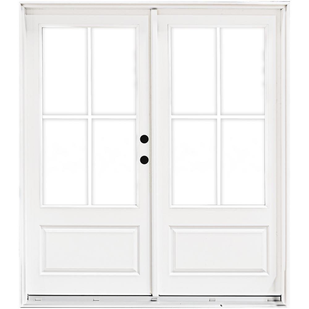 Mp Doors 72 In X 80 In Fiberglass Smooth White Left Hand Inswing Hinged 3 4 Lite Patio Door With 4 Lite Gbg Hn6068l3qw3 Patio Doors Interior Barn Doors French Doors