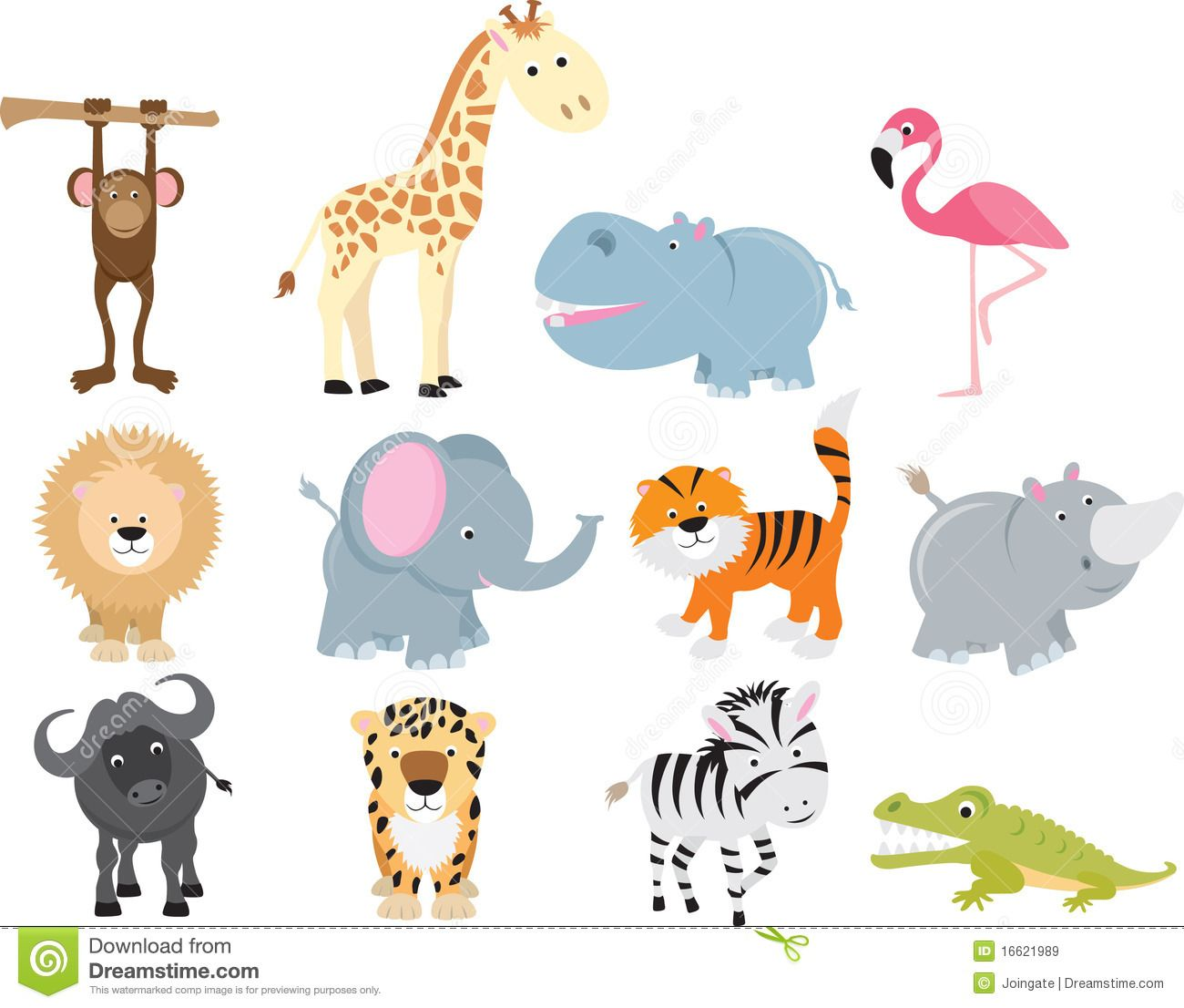 Cute Wild Safari Animal Cartoon Set Download From Over 49