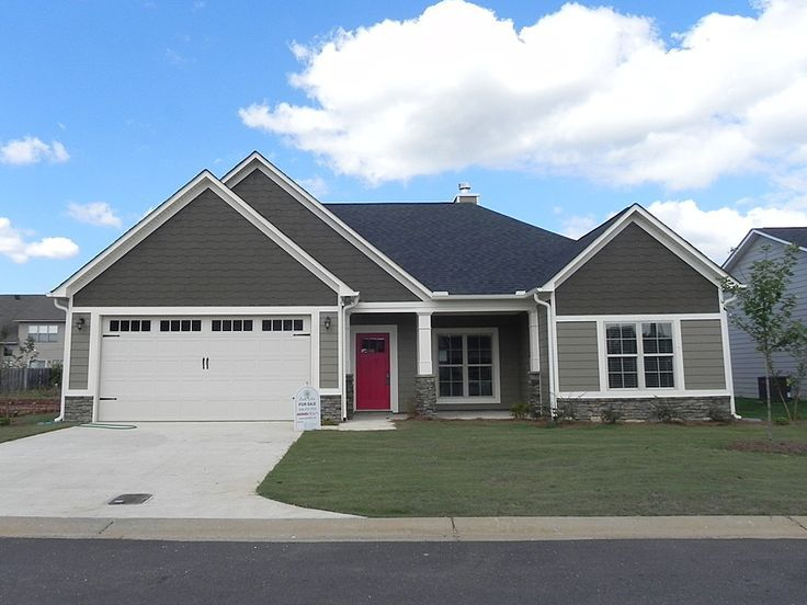 Red Front Door Brown House gray house what color door |  (gray/beige) and white trim