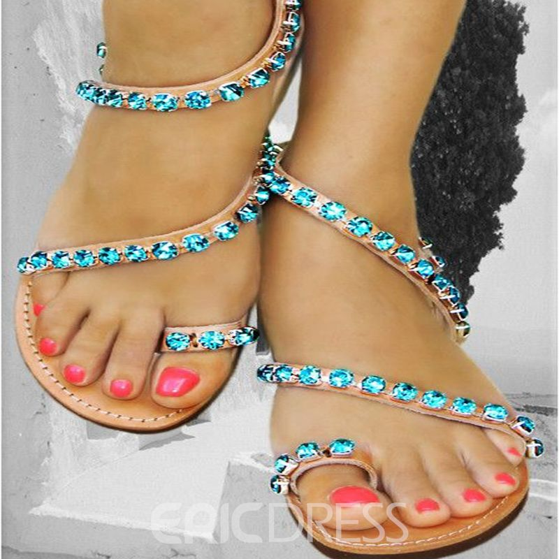 921217d1b85b2d Ericdress Bright Rhinestone Toe Ring Flat Sandals