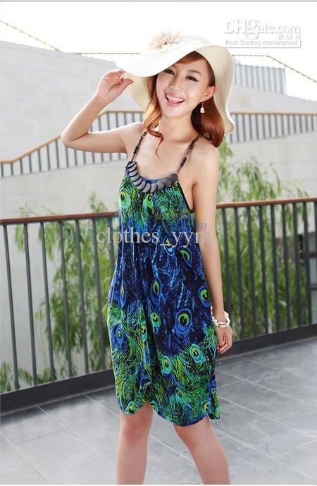 708e8f3766e8 Moda estilo Bohemio de las mujeres se visten vestido de playa pluma ...