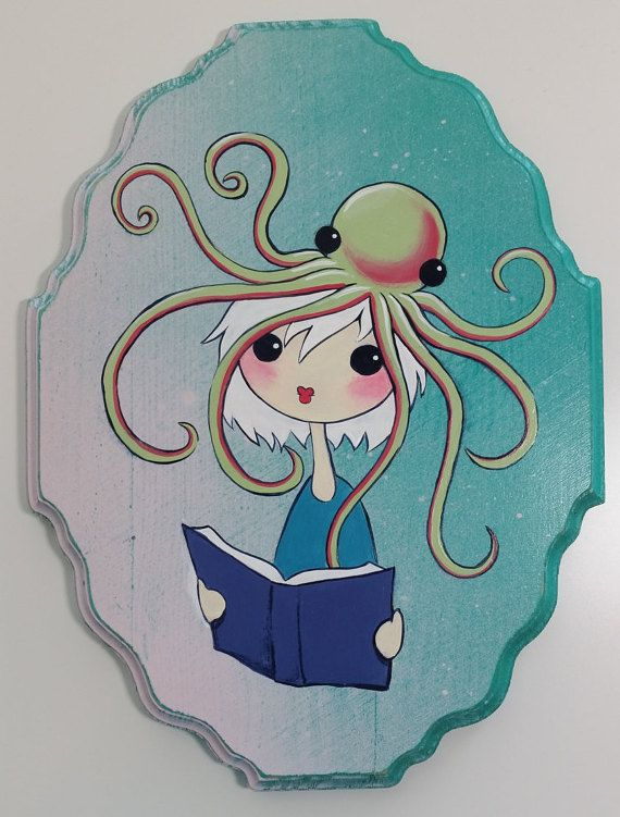 Octopus and Girl Reading  acrylic painting on wood by Pabkins