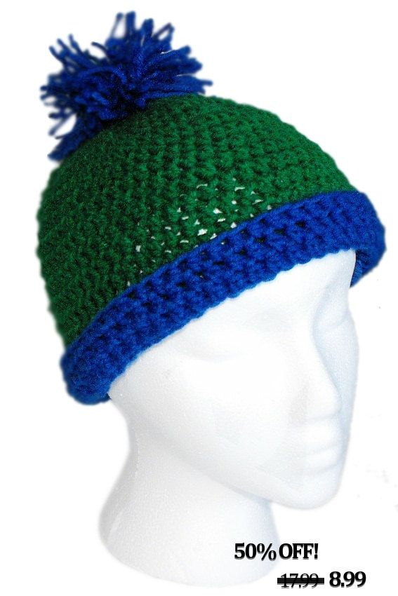 637f5a2e1cb Crochet Classic Blue Green Beanie Pom Pom.  8.99