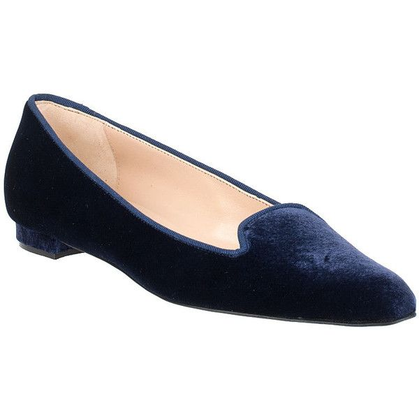 Manolo Blahnik Shariffac Blue Velvet Flat ($328) found on Polyvore