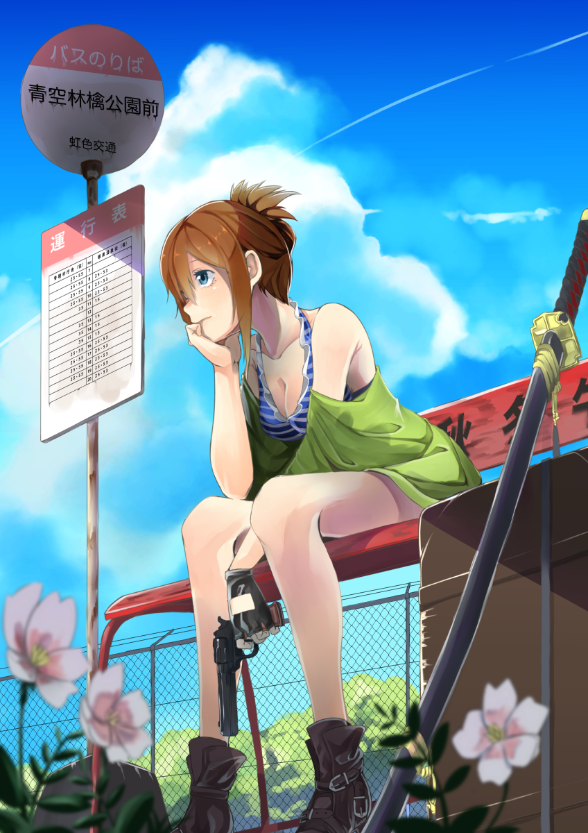 "Tags:     ""bikini"" ""blue eyes"" ""blush"" ""boots"" ""brown hair"" ""flower"" ""gloves"" ""gun"" ""ponytail"" ""short hair"" ""sky"" ""sword""  Artist:     ""Shunkashuutou Hirune (VacatioNRooM)"""