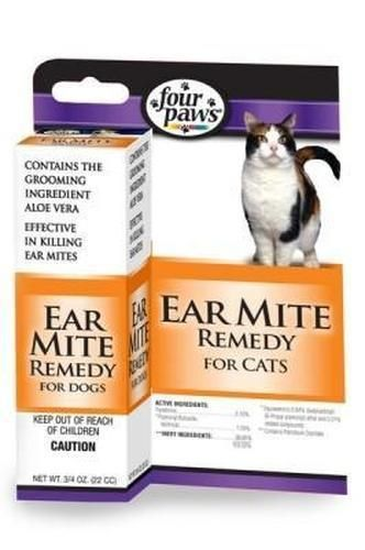 Four Paws Ear Mite Remedy For Cats 75 Oz Cat Ear Mites Cat Health Cat Health Care