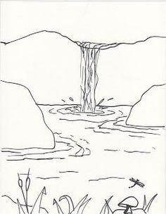 Creator S Joy How To Draw A Waterfall Lesson On Foreground And Background Waterfall Drawing Art Drawings Simple Landscape Drawings