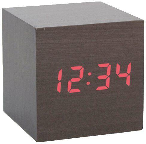 Kikkerland AC22-DK Clap-On Cube Alarm Clock, Dark Wood:Amazon:Home & Kitchen from Amazon