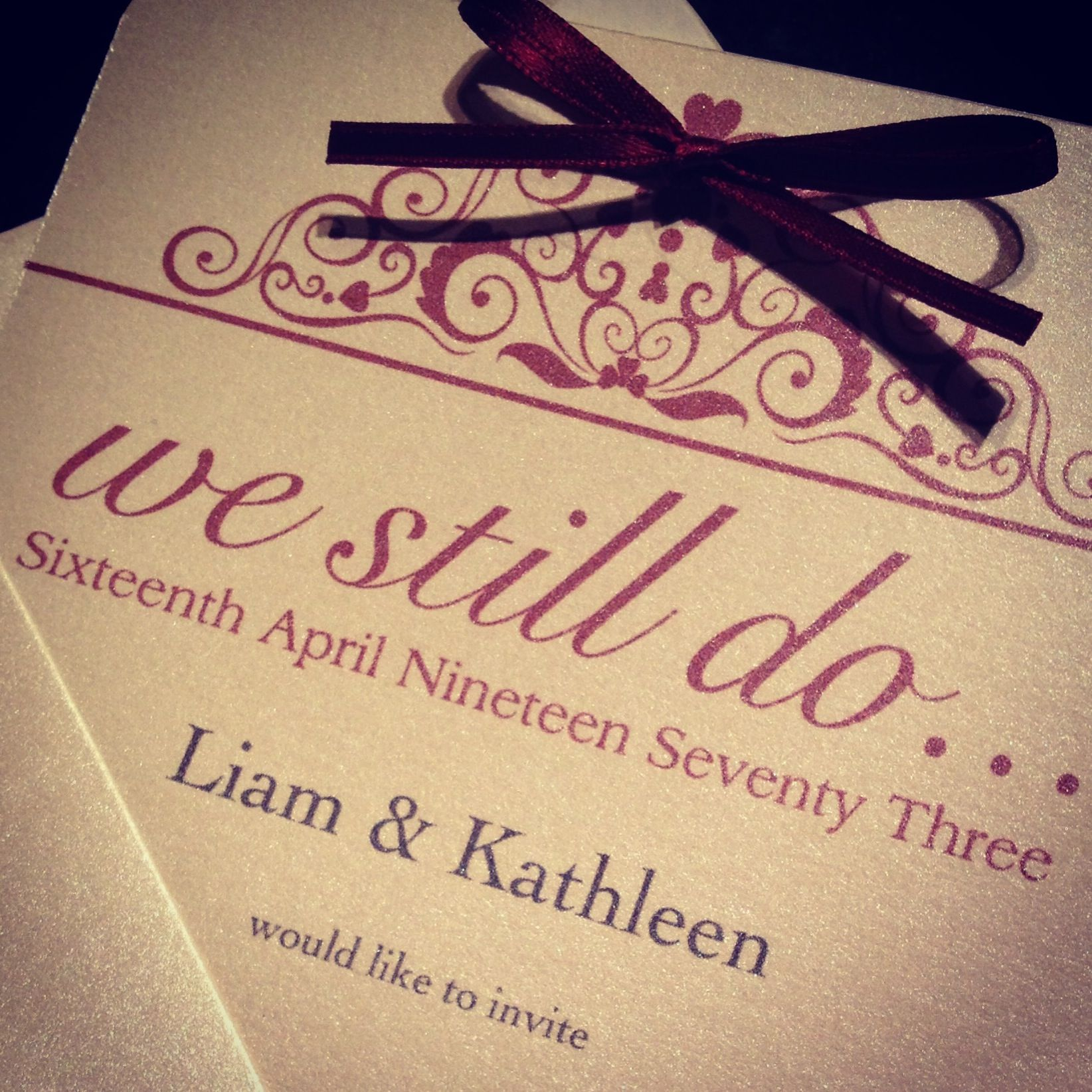 Ruby Wedding Anniversary invitation for a very special couple | 40th ...