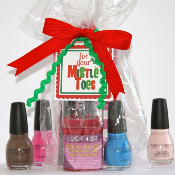 FOR YOUR MISTLETOES Printable Nail Polish Gift Tag. What a super cute idea for  girls!