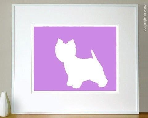 Westie Silhouette Print West Highland White Terrier Modern Pet Decor Dog Lover Gift Mod-Dog Archival Fine Art - 8x10 office collage definite inspiration