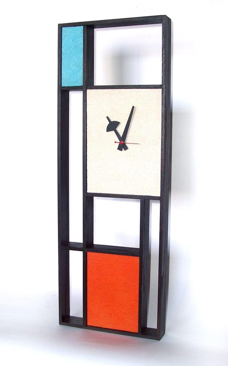 Danish Mid Century Modern Clocks  Danish Modern Art Mondrian Clock Eames  Era Tiki 60's Retro