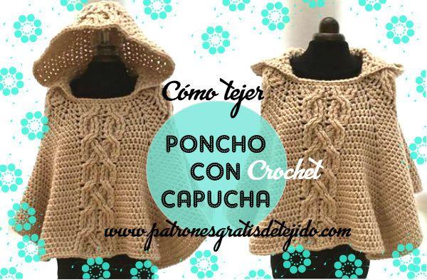 Cómo tejer poncho crochet con capucha / DIY | Crochet y Dos agujas ...