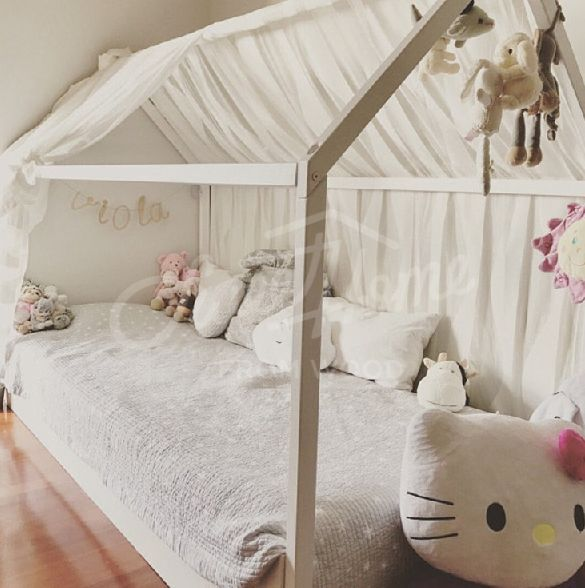 Boho Style Pastel And White Girls Room Interior Ideas Toddler Bed House Bed Tent Bed Children Bed Wooden House Wood H Kid Beds House Frame Bed House Beds