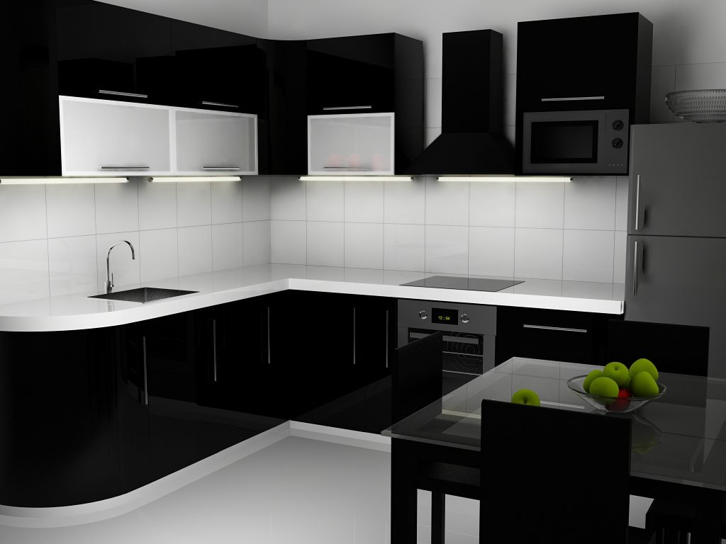 Black And White Kitchen Interior Contemporary Kitchen Interior