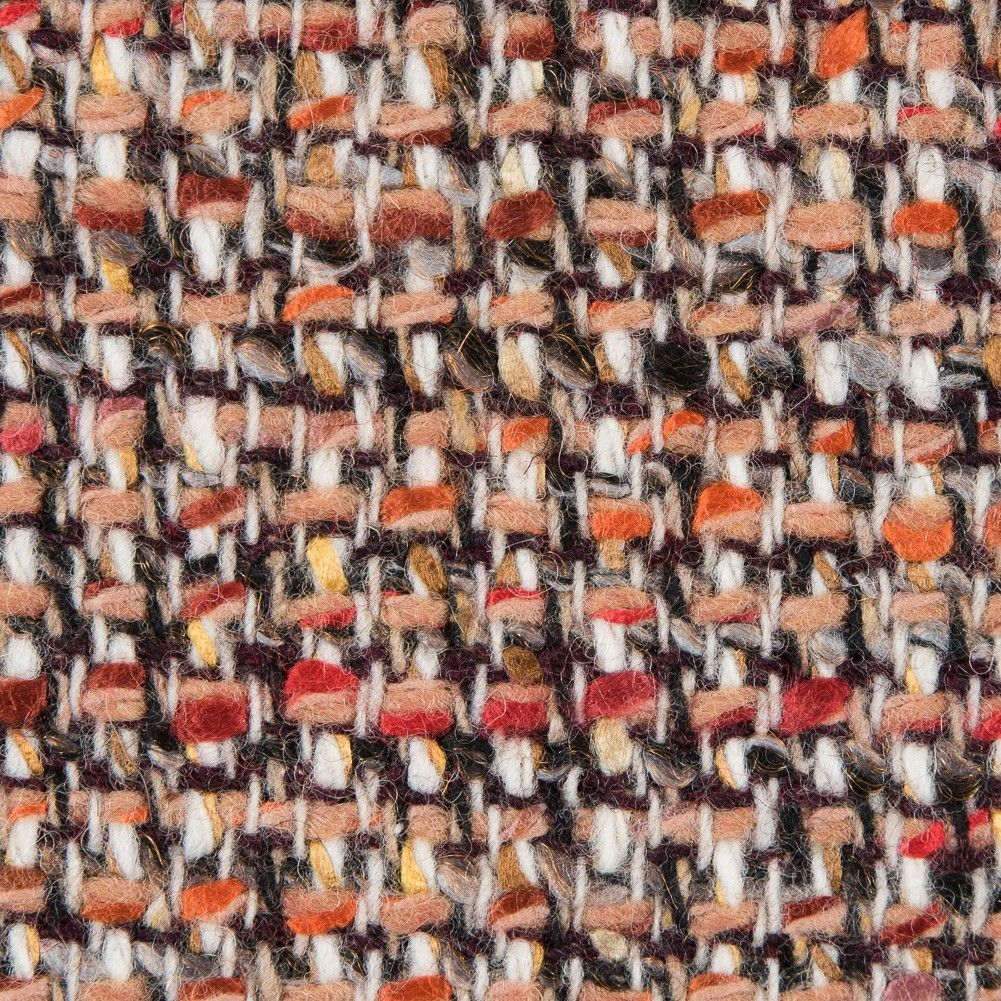 Italian beige and red wool tweed fabric by the yard mood fabrics