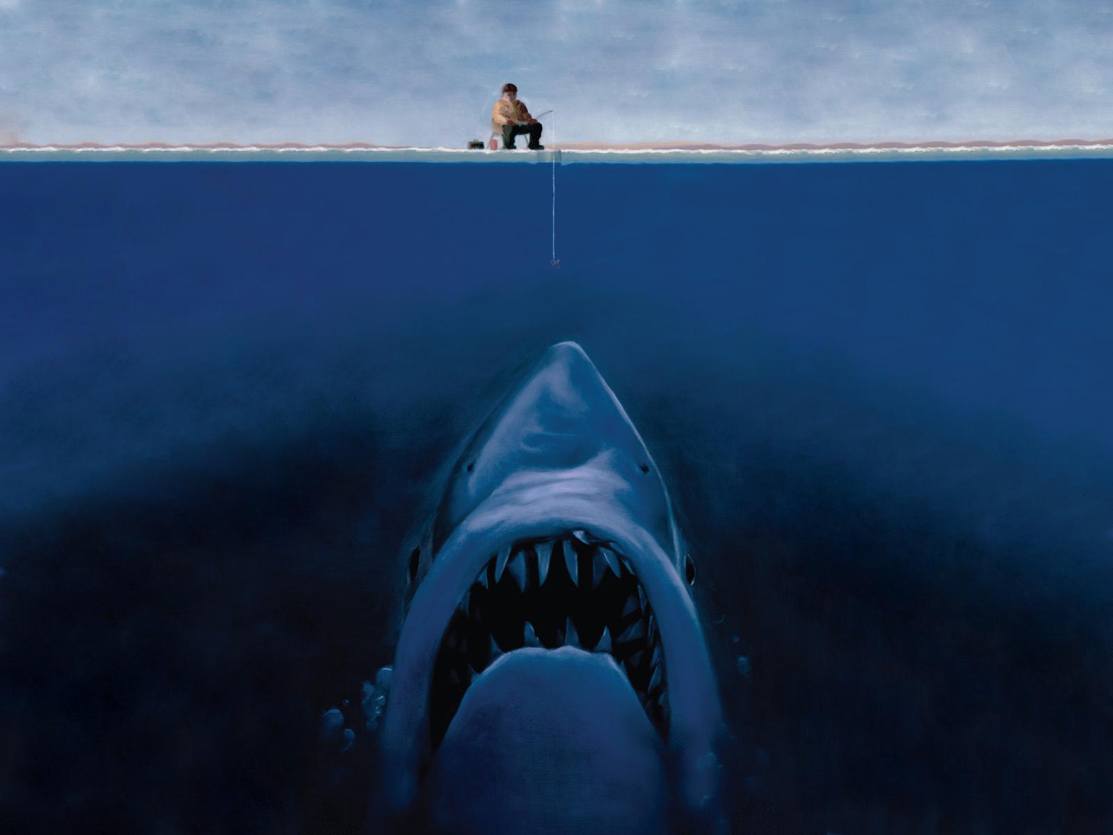 fantasy Art Shark Fisherman Fishing Ice Fishing Split View
