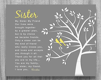SISTER GIFT Bridesmaid Maid Of Honor Personalized Art