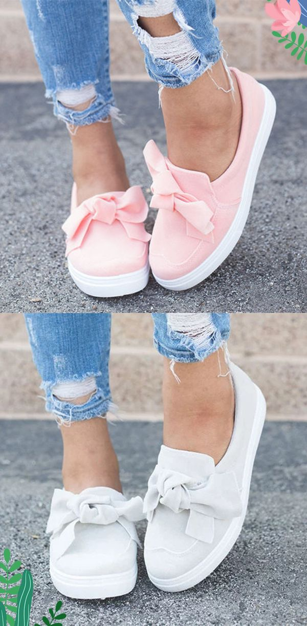 Women Nubuck Loafers Casual Bowknot Shoes | Bowknot shoes