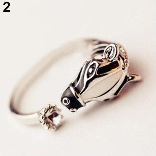 Cool Men Women's Animal Fashion Rings Horse Head Crystal Adjustable Ring Punk Jewelry