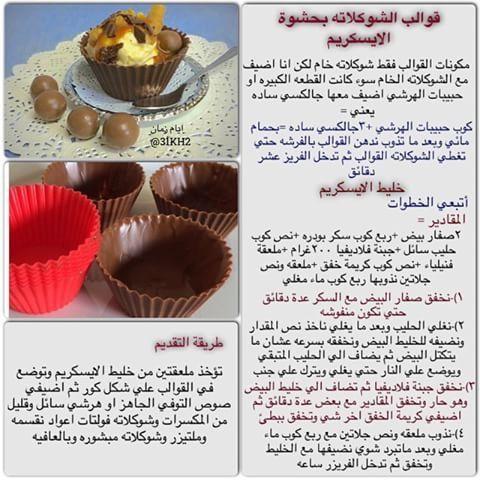 قوالب الشوكولاته بحشوة الايس كريم Food Recipies Dessert Recipes Desserts