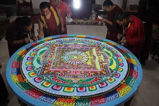 Mandala: Círculo em sânscrito. Em tibetano, kyilkhor. Cada Mandala é pintada como thangka, é tridimensional, feita em madeira ou metal, simbolizada por montes de arroz ou areia colorida. É associada a uma certa divindade ou buda (tib. sangye), ser de compaixão, sabedoria e habilidade que libera todos os seres do sofrimento e leva-os ao despertar. A de areia é desfeita após algumas cerimônias e jogada em um rio próximo (as bênçãos se espalham). Esse também é um exemplo da impermanência.