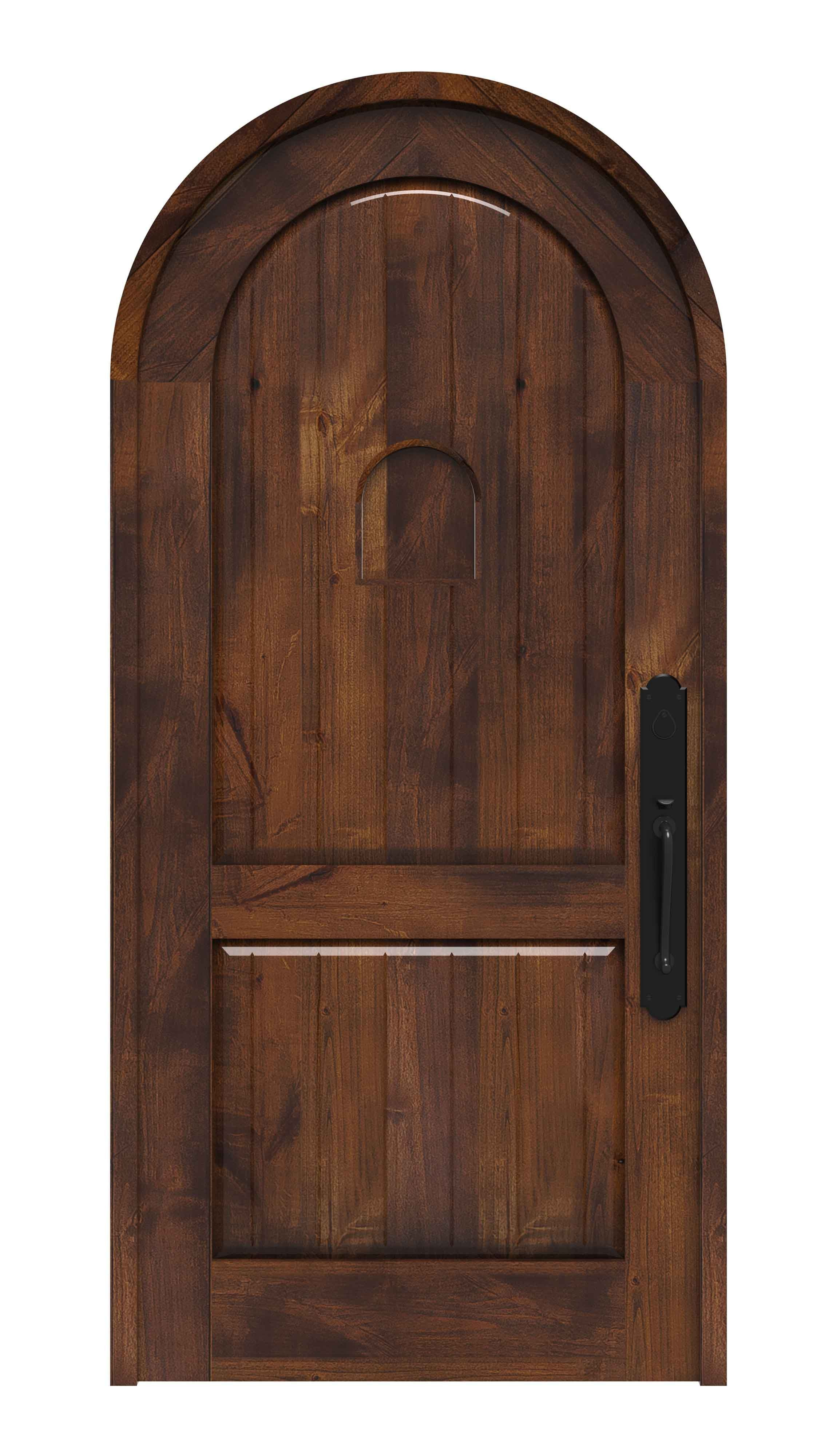Shop for round top doors and choose your finish to customize an old world front door