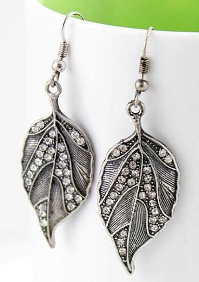 Crazy Promotion Vintage Fashion Drop Crystal Leaf Earring Sheinside