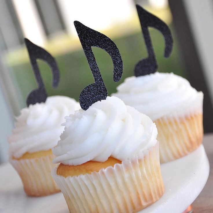 Music Party Decor. Ships in 1-3 Business Days. Rock Star Party. Music Note Cupcake Toppers 12CT #rockstarparty