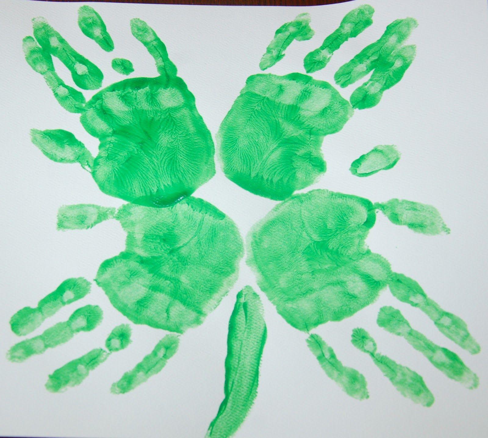 St Patrick S Day Four Leaf Clover Hand Print Art