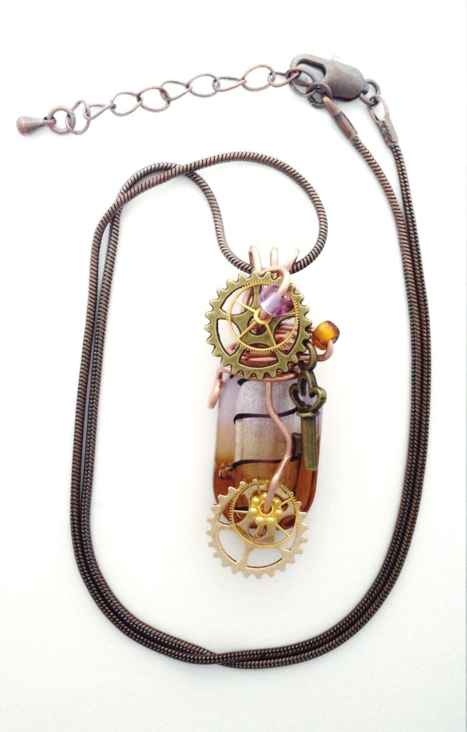 Steampunk inspired pendant necklace - Amber, lilac and copper, wire ...