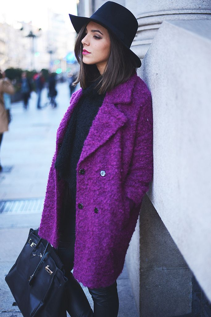 Image result for purple winter date outfit