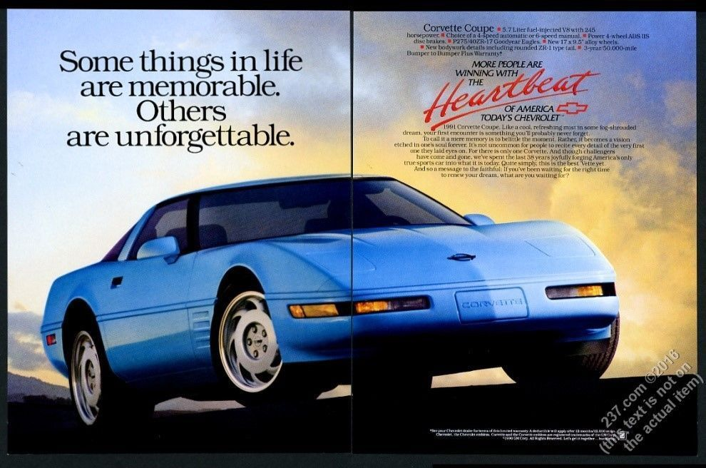 1991 Chevrolet Corvette Blue Car Photo Vintage Print Ad Nm Car Ads