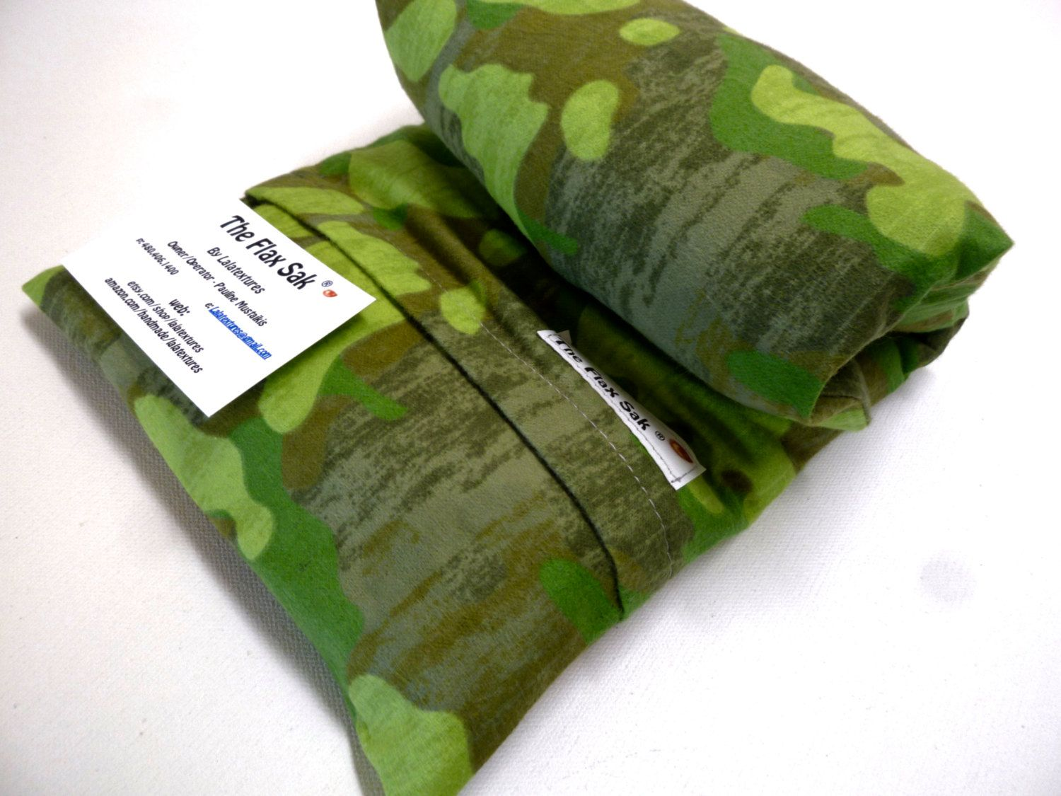 FLAX HEATING PAD - Microwave -  Camo - Removable - Washable Flannel cover  - stocking stuffer -  Great  Christmas Gift -  The FLaX SaK by lalatextures on Etsy