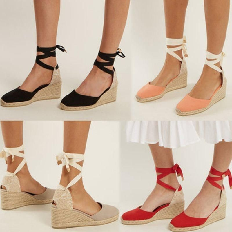 ec0e0c53ccc Lace-Up Wedge Heel Closed Toe Plain Vintage Sandals in 2019 ...