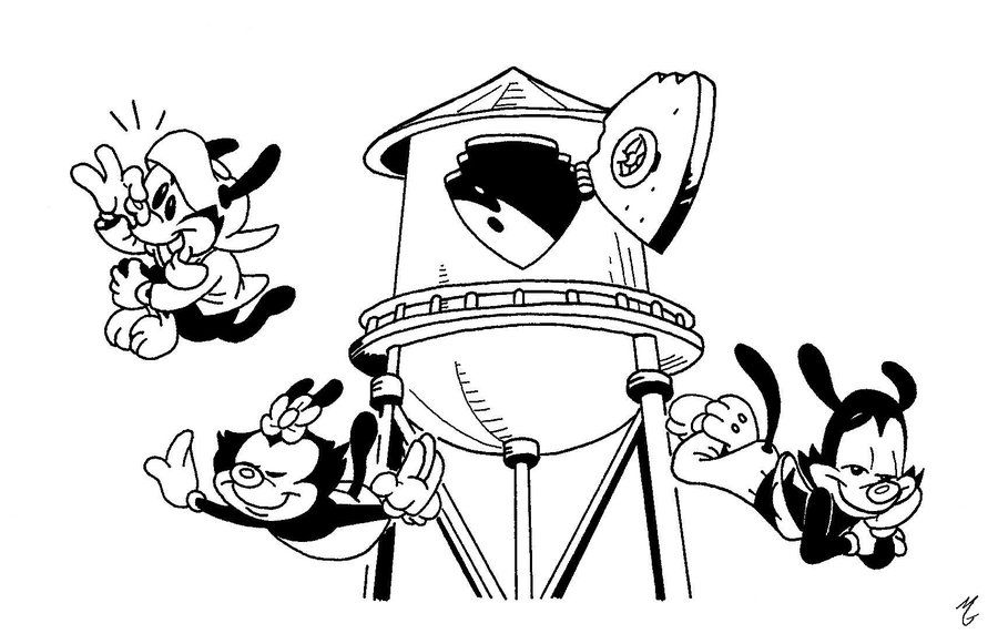 Animaniacs Jumping From A Height | Animaniacs Coloring Pages | Pinterest