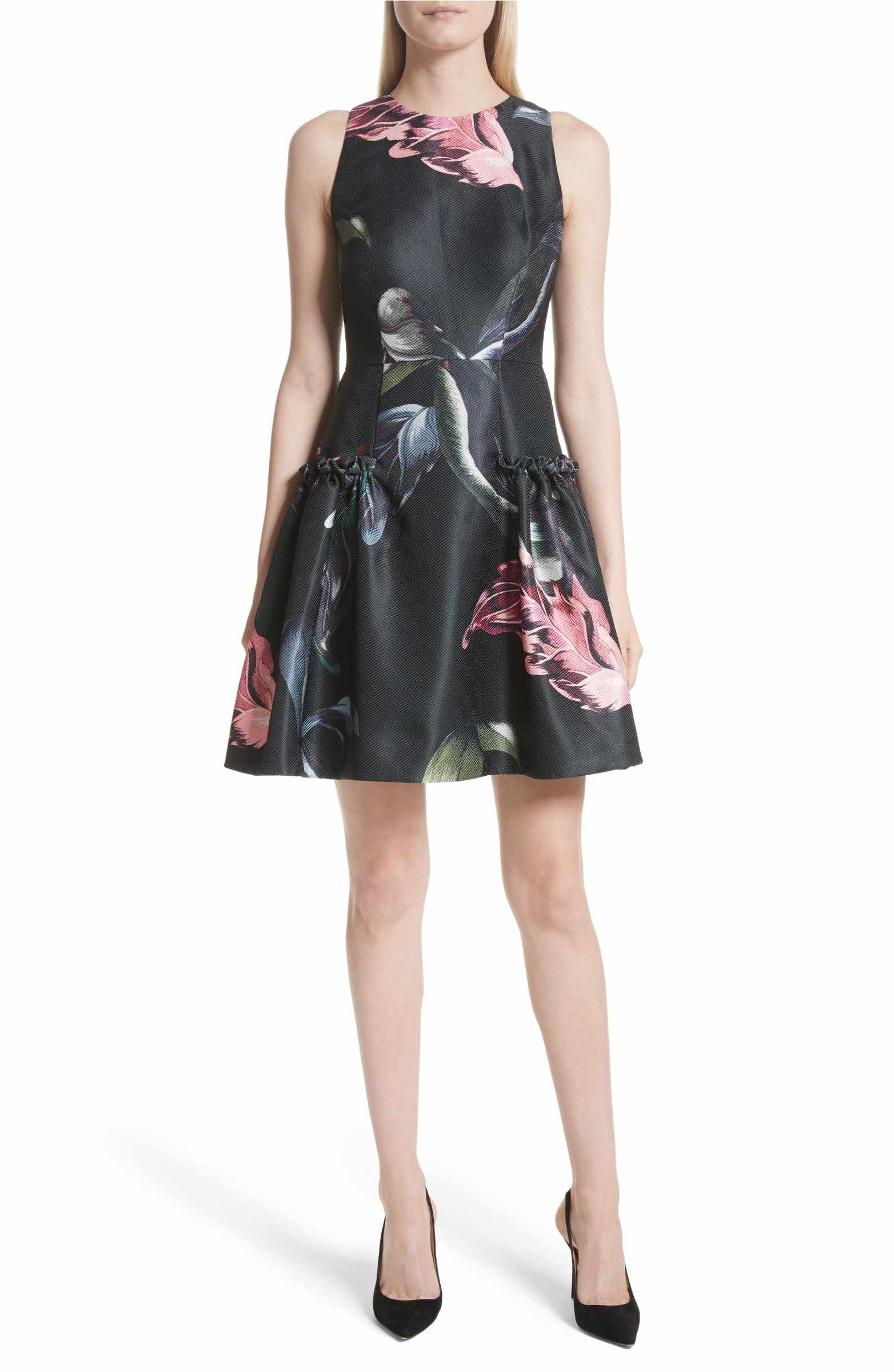 71aa104d377bf Main Image - Ted Baker London Sarahe Floral Fit   Flare Dress ...