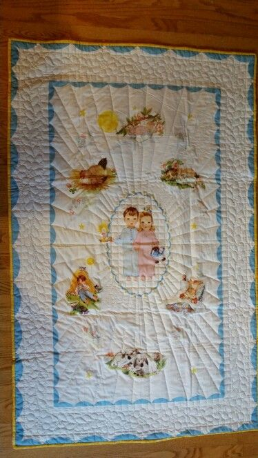 1944 Sleepy Time by Hiawatha...my first hand quilting project. .going to upcoming grand baby in July!