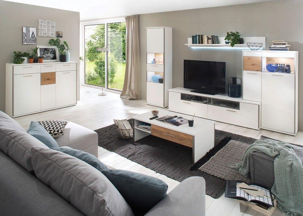Wohnzimmer Einrichtung Davos Weiß Matt Lack mit Balkeneiche 22557