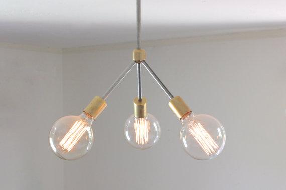 milieu du siècle moderne lustre / / laiton moderne rustique et non polies en acier exposées éclairage ampoule edison / / lampe de plafond on Etsy, 533,33€