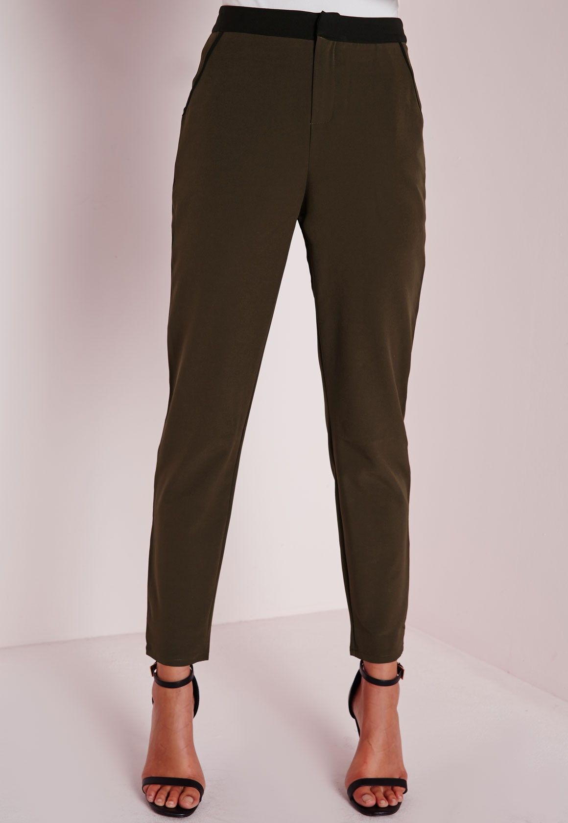 Contrast Waistband Cigarette Trousers Khaki - Cigarette - Trousers - Missguided