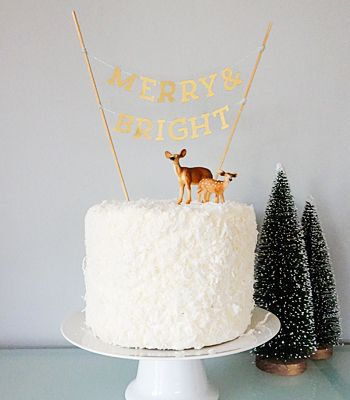 DIY Mini Banner Cake Topper Confetti Pop Gorgeous christmas cake