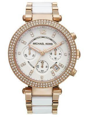 Michael Kors White Acetate and Rose Gold-Tone Watch MK5774 @ Kranich's Jewelers.