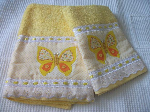 Toalha de banho em patch aplique toallitas pinterest for Apliques para toallas