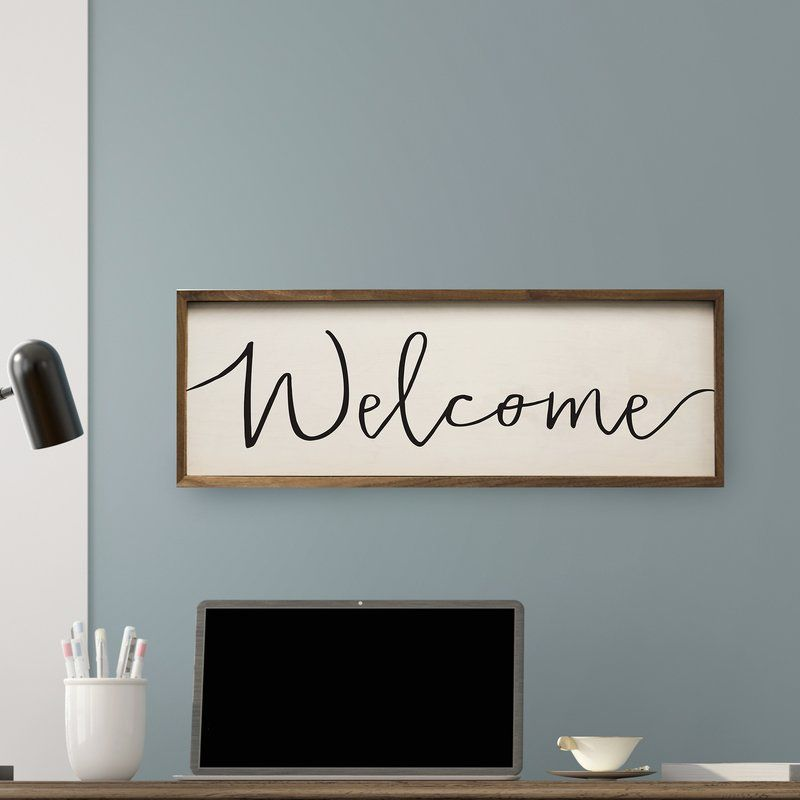 Simple Welcome Framed Textual Art On Wood Frame Wall Decor Farmhouse Wall Decor Country House Decor