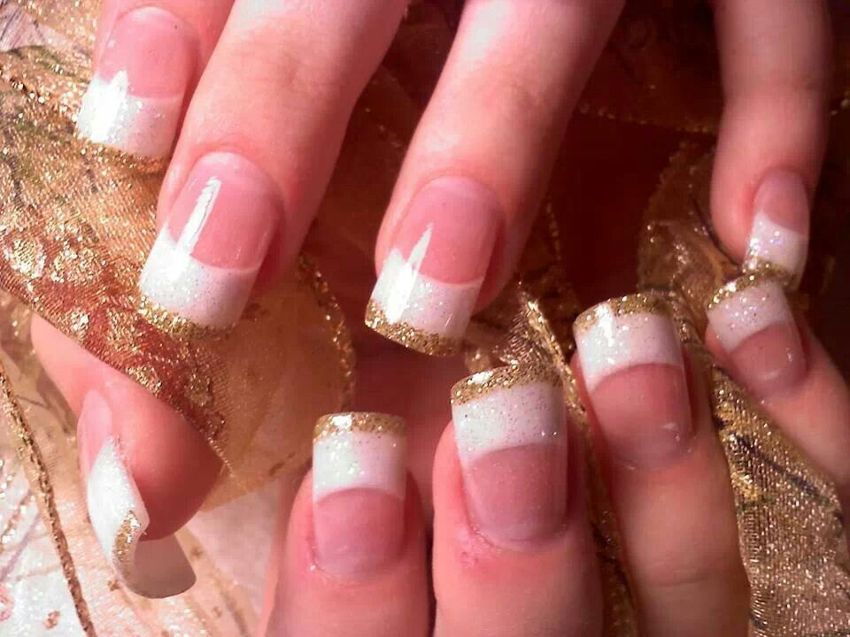 White French Tip Nails with Gold | *Cute Nail Designs* | Pinterest