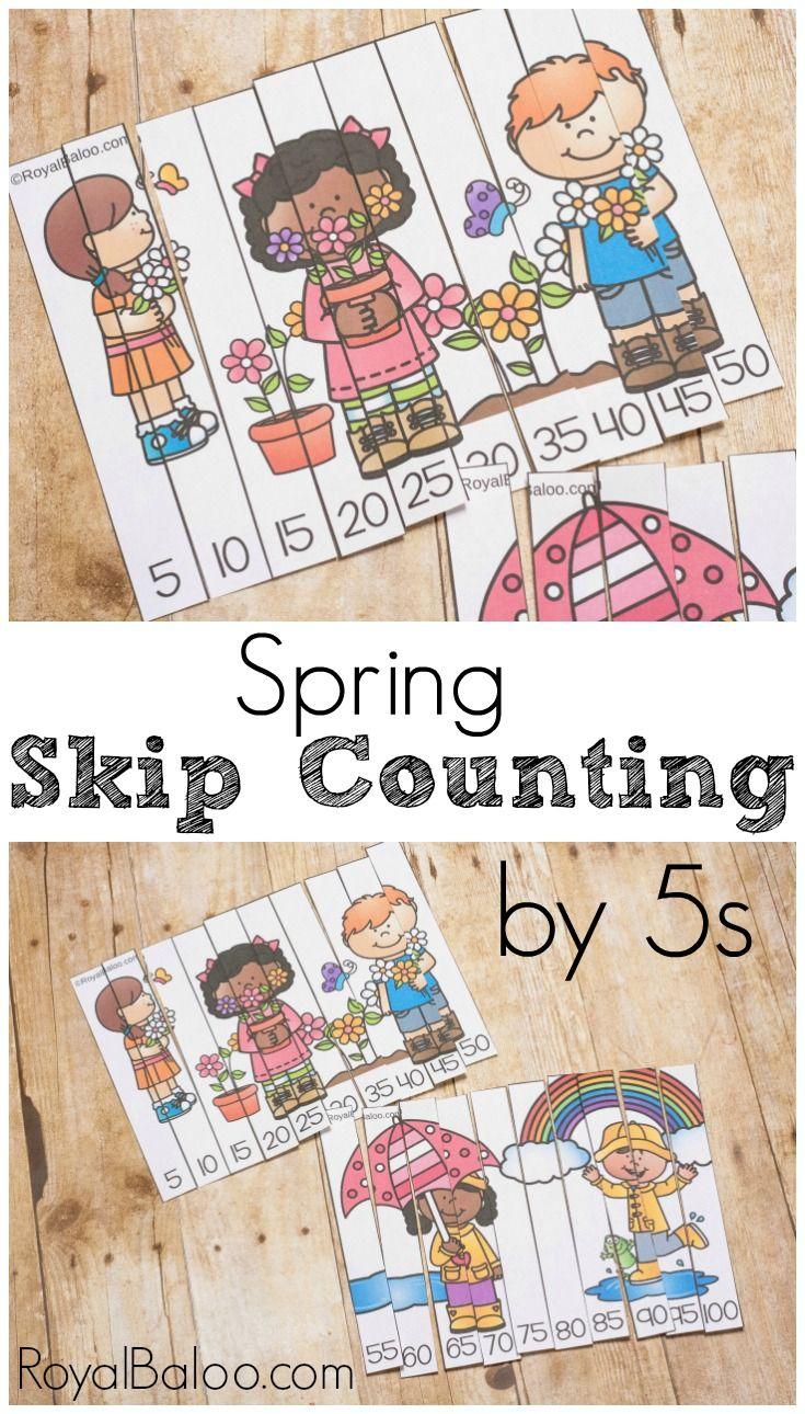 Spring Skip Counting by 5s | Contar, Primavera y Escuela