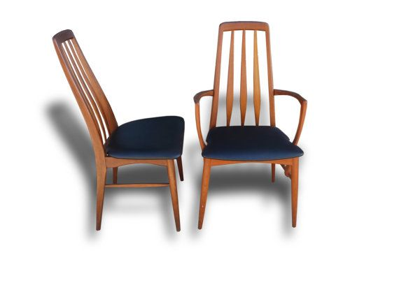 Mid Century Danish Modern Eva High Back Dining Chairs By