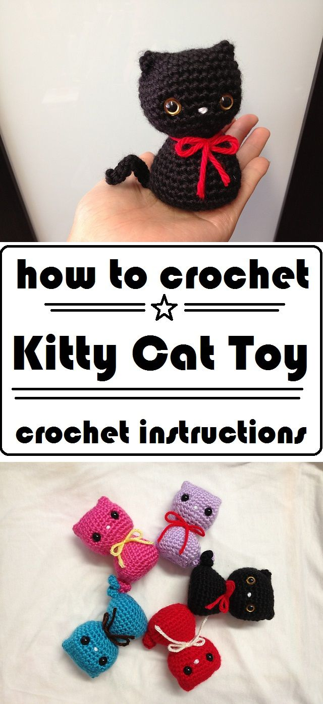 Crochet Colorful Kitty Cat Toy #kittycats